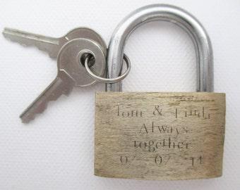 Personalised engraved padlock