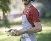 Full White/Blue Pinstriped Men's Kitchen Apron With Pocket- Canvas Apron- Men's Cooking Apron- Grilling Apron- Rustic Apron-  Barbecue Apron