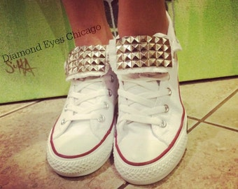 White Converse All Star High Tops Custom Studded ALL SIZES & COLORS! Chuck Taylors; Trendy Shoes; Wedding Converse;White Chucks;Custom Shoes