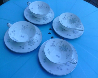 Lovely Four Cups and Saucers with Suzette Design, Noritake.