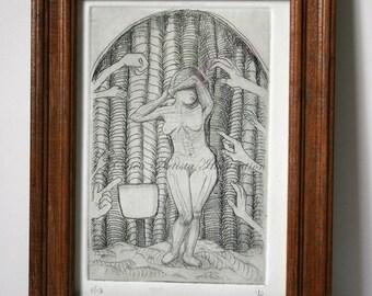 """FRAMED Intaglio Print, """"Meat Market"""""""