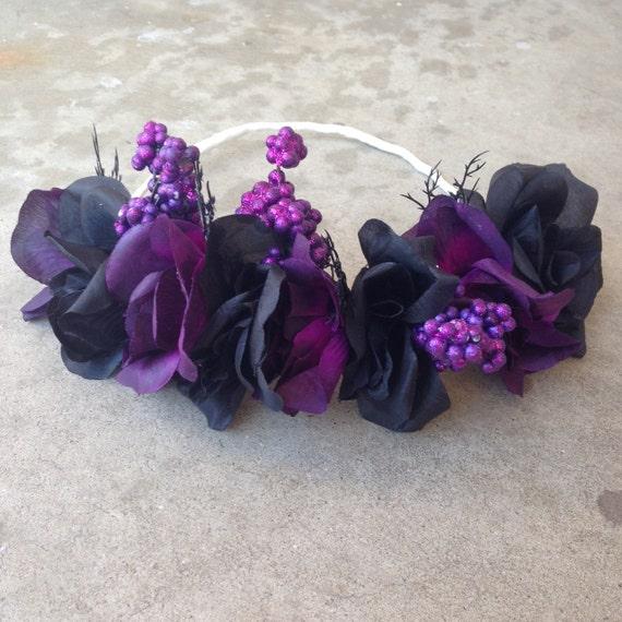 Black Flower Crown Gothic Flower Crown Black Flower: Gothic Fairy/ Black Purple Roses/ Flower By LoveAndGlamorous