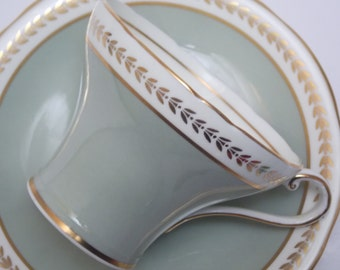 Aynsley Fine Bone China Corset Tea Cup and Saucer Sage Green Gold Trim Gilt Border