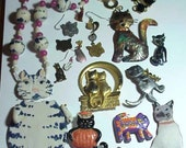 Vintage Cat  Jewelry Parts Lot for Art Craft Jewelry Design Upcycle Recycle Create Destach Lot