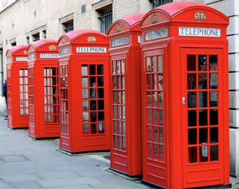 Red London Phone Booths, England, Great Britain, UK, British, Photography