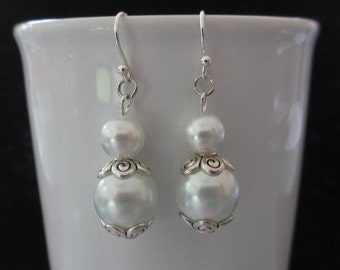 White Glass Pearl Bridal Drop Earrings with Metal Scroll Bead Caps