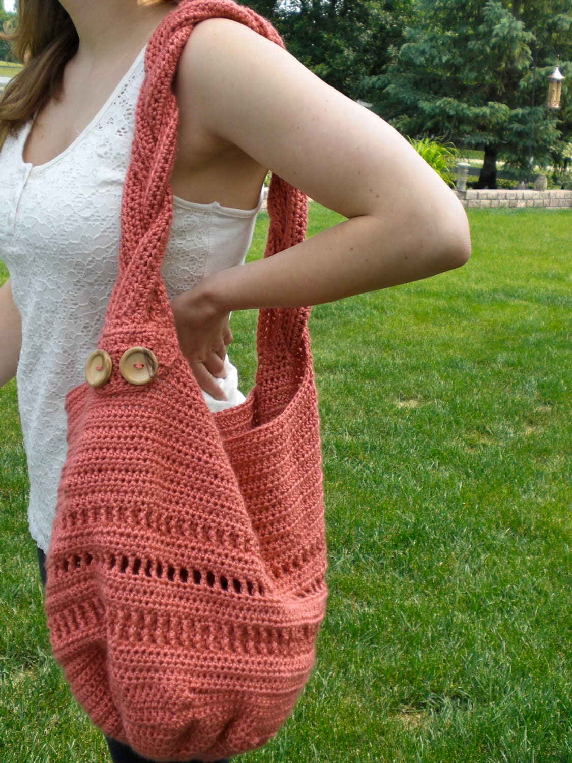 Crochet Bag Pattern Summer Meadow Tote Bag by BarefootDesignsShop