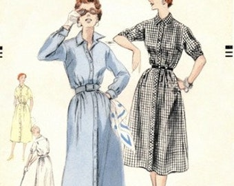 Vogue 8325 Dandy Shirt Dress 1954 / SZ14 FACTORY FOLDS