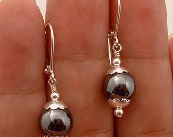 NovaDesign  Black Hematite Sterling Silver Earrings --- Leverbacks !!