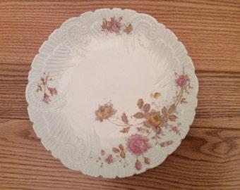 Embossed floral bone china salad plates, Austrian