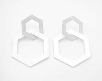 Double Hexagon Earrings in Matt silver