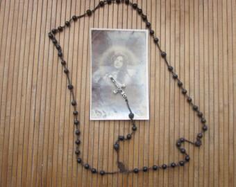Vintage Rosary crucifix > precious Christian Catholic religious wood beads