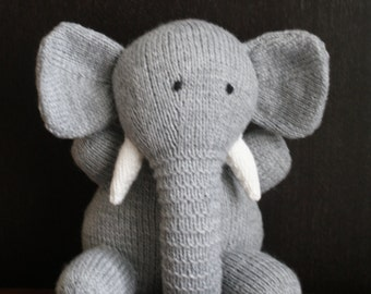 Hand knitted elephant toy.