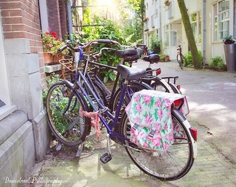 Summer Bicycle Photography Print, Dreamy Light - Amsterdam Bike, Floral Print, Home Decor, Charming, Travel Art, Netherlands Travel
