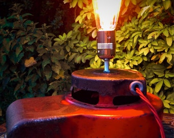 Vintage Briggs & Stratton Engine Cover Upcycled Table Lamp Light