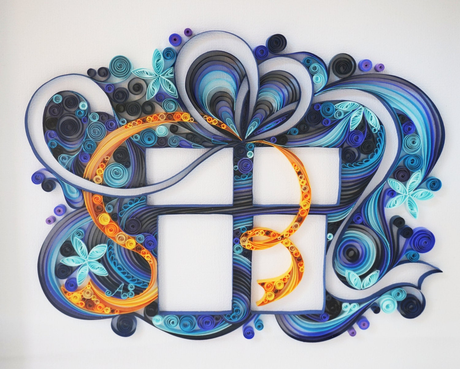 Handmade paper quilling gift box framed in shadow box zoom negle Choice Image