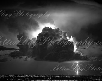 Lightning Striking Over Denver Horizon - Fine Art Photography Print - Home Decor B&W