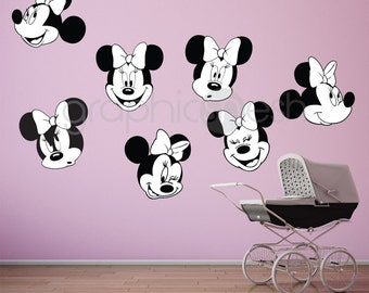 MINNIE MOUSE various faces - Wall decals - Replica surface graphics interior decor by GraphicsMeshs