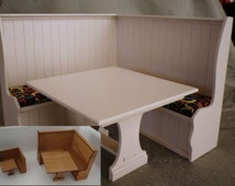 Banquette with Trestle Table is a Kit for Dollhouse Furniture in 3 Scales