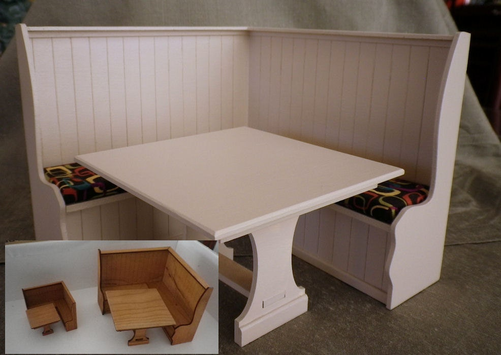 Banquette With Trestle Table Is A Kit For Dollhouse Furniture