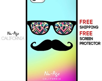 IPhone 5C Rainbow Mustache Case IPhone 4S Funny Case Colourful Face Design Cool Case IPhone 5C Case Rainbow IPhone 4S Mustache Case