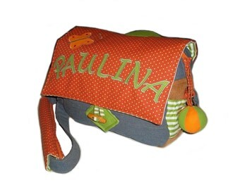 Children bag PAULINA-kindergarten with butterflies made of corduroy and denim, warm colors, stripes and points, as well as a possible name