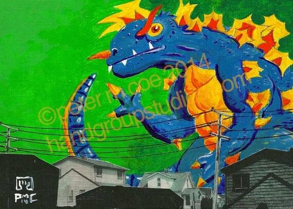 "Detroit Kaiju Electric Beast 5x7 Print ""Gustralek in da Hood"" Original Art Print by Pete Coe"