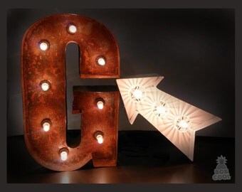"20"" / 50cm Marquee Light Up Signs / Letters / Arrow Vintage Industrial Look - Made In Britain"