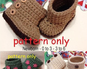 Crochet Pattern Set, Newborn to 6 months, Crochet Baby Boots, Booties Pattern, Crochet Booties Pattern, Crochet Baby Booties, Digital Item.