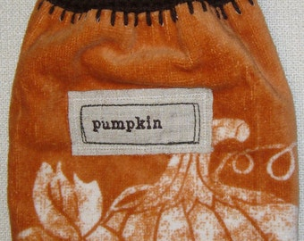 """Fall """"Pumpkin"""" Themed Hand Crocheted Hanging Double Kitchen Towel"""