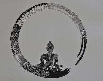 buddha and zen circle, original pen and ink