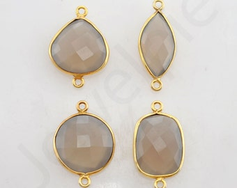 Gray Chalcedony Gold Plated Sterling Silver Bezel Station Connector and Charm, 1 piece