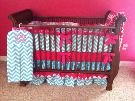 Girls custom made crib bedding with hot pink and white - Hot pink and blue bedding ...