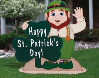 St Patricks Day Waving Leprechaun Outdoor Wood Yard Art Lawn Decoration