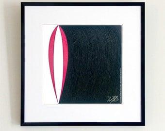 Pod Minimalist Art, Red Black White, Minimalist Art, Pen & Ink, Minimal Art, Red Black White, Contemporary Art, Wall Art Prints, SEEDLESS