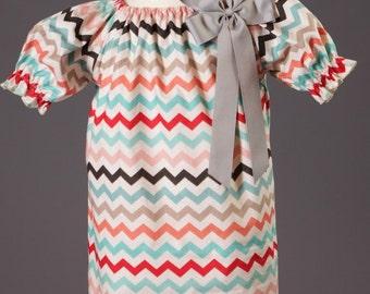 Fall Chevron Peasant Dress,Cute Fall Dress,Girls Fall Dress