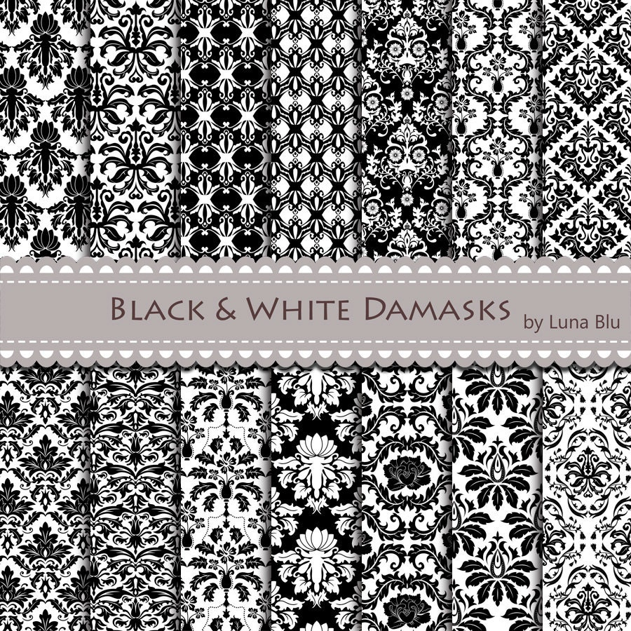 New Item added to my shop:Black and White Damask Digital ...