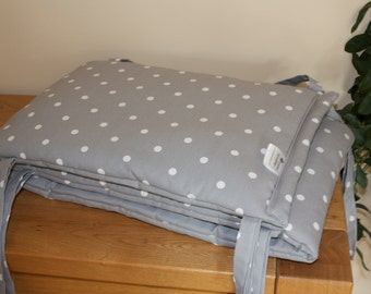 Custom Made Smoke Grey Polka Dot Cot Bumper