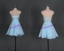 Short sky blue homecoming dress with sequins,cute sweetheart women gowns for holiday party,chic cheap chiffon prom dress under 150.