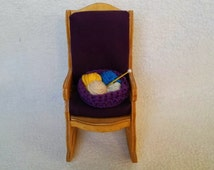 Vintage Wooden Pin and Needle Rocking Chair, Handmade Pin Cushion