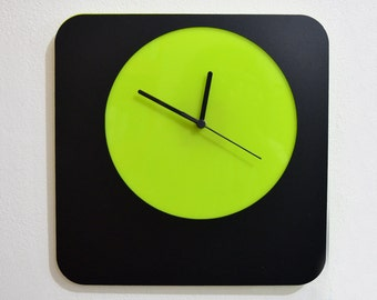 Simply Black and Lime - Wall Clock