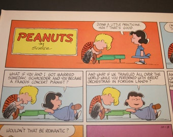 Romantic Schroeder, Charlie Brown Comic Strip, Peanuts, Schroeder playing Piano for Lucy, Charles M Schulz, Piano Player