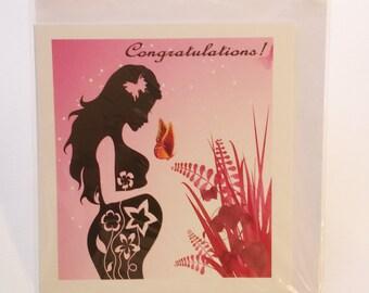 Pregnant woman silhouette greeting card in Yoruba, Igbo, hausa, akan, shona,Swahili language