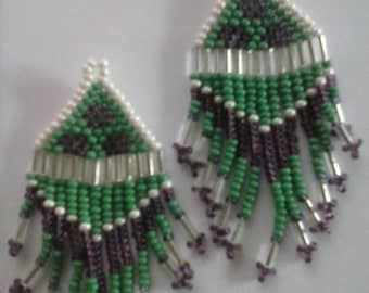 Authentic Native American Earrings. Beaded, free dangly fringe.  Measures about 2 3/4 inches.