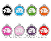 Personalized Engraved Designers Round With Cat Shape Pet Tag dog tag cat tag by CNATTAGS