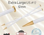 EXTRA LARGE addi Knitting Needles 12 mm, Size US #17, light weight, easy to handle, thick super bulky chunky recycled yarns, made in Germany
