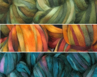 SUPER ZIPPY hand dyed Super Bulky Pencil Roving Wool Fiber Yarn for Knitting, Spinning, Felting by Living Dreams. Choose color, 1oz 15 yards