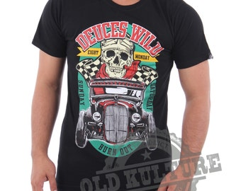 Eight Monday T-shirt Vintage Hot Rod Rockabilly Custom Classic Cars Ford Mustang Rat Rod