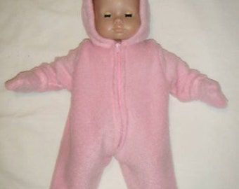 Fleece Hooded Snow Suit with Removable Mittens for Bitty Baby or any 15 inch Doll