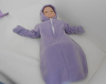 Hooded Ultra Soft Fleece Baby Bunting for Bitty Baby or any 15 inch Doll